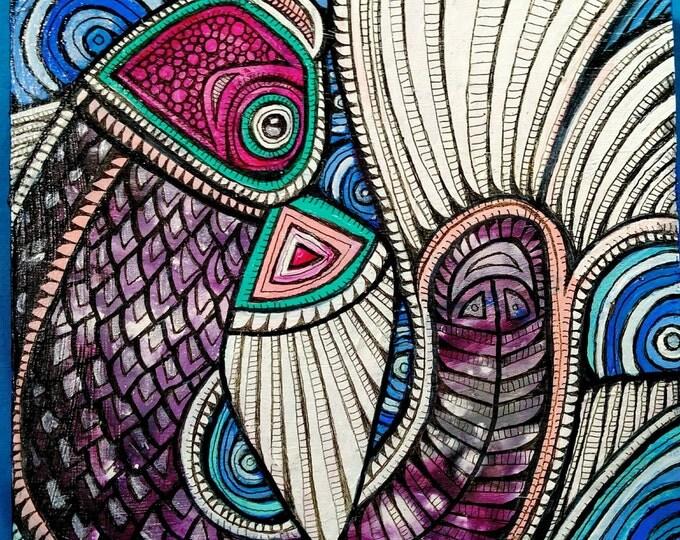 Tribal Fish Hand-Painted Art Box