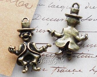 Alice in Wonderland 3D Mad Hatter charms 5 pcs - Antique bronze