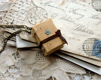 Tiny Tales No.9 - Miniature Wearable Book, Vintage Embroidered Linen, Tea Stained Pages, OOAK