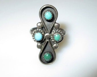 RING  - TURQUOISE  - NATIVE American - Elongated  - 925 - Sterling Silver - size 5 3/4 -  Turquoise73