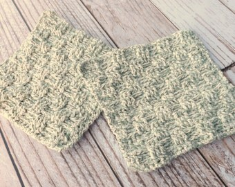 Green and White Cotton Dishcloth - 100% cotton dishcloth - textured green cotton washcloth - green dishrag - washrag - housewarming gift