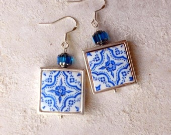 Portugal  Antique Azulejo Tile Replica Earrings - 925 Silver FRAMED - Évora  UNESCO World Heritage Delft Mosaic Porcelain Spode 722 Silver F
