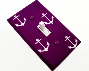 Anchors Light Switch Cover - Girls Nautical Nursery Decor - Purple Nautical Switchplate - Purple Nautical Nursery - Anchors Switchplate