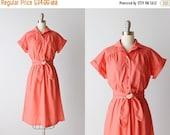 SALE Vintage 1980s Short Sleeve Casual Day Dress / Coral Dress / Elastic Wasit Belted / Pocket