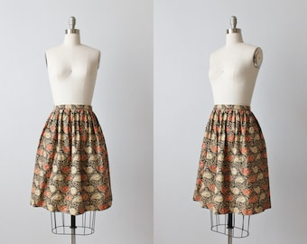 Vintage 1980s Floral Print Midi Skirt /  Cotton /  Pockets