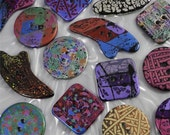 Handmade Resin Sewing Buttons - MY CHOICE of 6 different LARGE buttons - round, square and comet