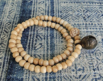 ANTIQUED BONE Mala Beads with BRASS Bell Necklace, boho, tribal, yoga