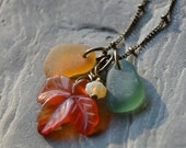 Fall Necklace, Genuine Sea Glass Necklace, Autumn Leaf Necklace