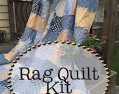 Rag Quilt Kit, multiple sizes available, Swank fabrics