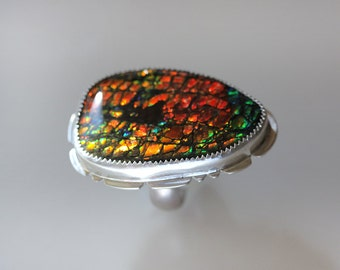 RESERVED/ Large Ammolite Ring/ Statement Ring/ Dragon Skin Ammolite/ Strong Red and Green Fire/ Ammonite Ring/ Fits Size 7.5