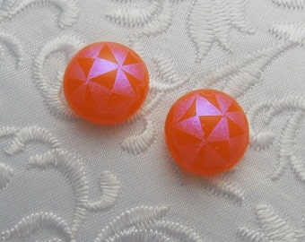 Orange Earrings - Dichroic Earrings - Stud Earrings - Post Earrings - Fused Glass - Glass Earrings - Small Post X1780