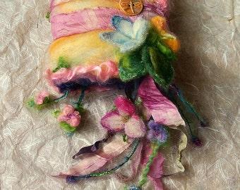 reserved - felted wool journal art book  - enchanted forest art diary - fairytale garden fantasy journal