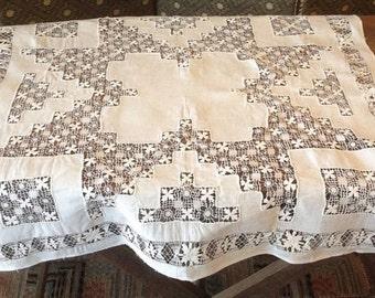 """1900, handmade linen 30""""x30"""""""