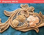 Fall 25% Off SALE- Lovely Antique Ribbon Work Applique Victorian Silk Soutache