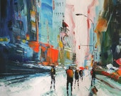 Original Abstract New York City Palette Knife Painting On Linen Canvas, Size 32x32 inches
