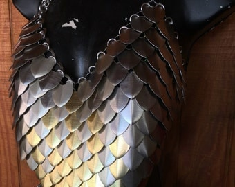 Silver and Gold Pointed Dragon Scale Bikini Top