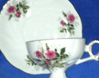 Beautiful Vintage Lefton Hand Painted Pedestal Tea Cup and Saucer - Rose Design   (Item 403)