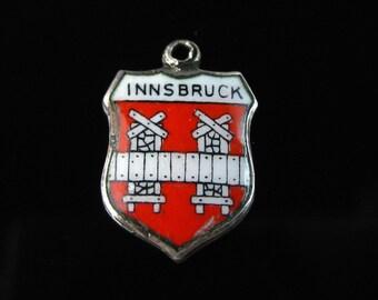 Charm, 800 Silver, Innsbruck, Red & White Enamel, Coat of Arms, Travel Shield, EHI