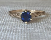 Reserved final Payment, Vintage Sapphire Engagement Ring
