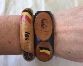 Vintage Travel Tourist Wooden Bangle, France, Great Britain, USA, Belgium