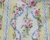 Romantic French Country duvet Repasy style hanging baskets Shabby PINK Roses on Blue ribbons and bows  OMG!  Lots of fabric!