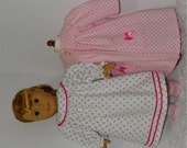 Pink Flannel Robe and Slippers with Nightgown, Fits 18 Inch American Girl Dolls