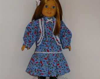 Blue 1920s Historical Dress, Fits 18 Inch American Girl Dolls