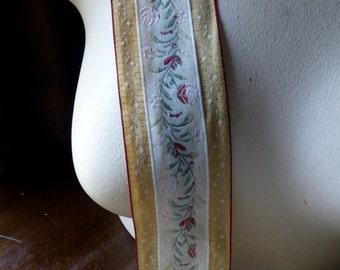 Gold & Ivory Jacquard Ribbon Trim for Garments, Reenactment Costume Design  TR 201