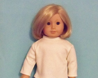 American Made 18 inch Doll Long Sleeved Cream Mock Turtle Tee-Shirt