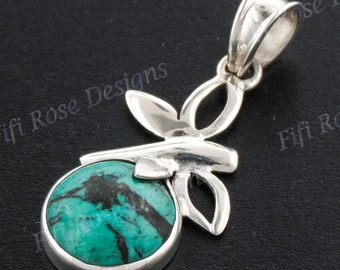 "1 7/16"" Turquoise 925 Sterling Silver Pendant"