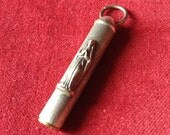 Religious antique french Mary chatelaine pen holder