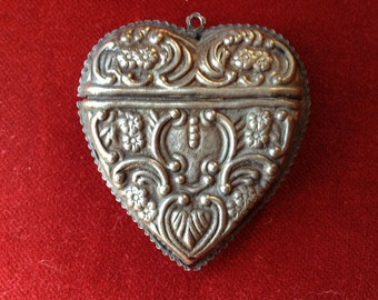 Silver sterling victorian heart box chatelaine pendant