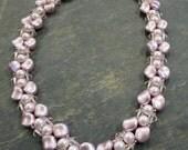 Pink Pearl Necklace- Swarovski Pearl Necklace, Rose Necklace - Classy Necklace- Crystal Necklace