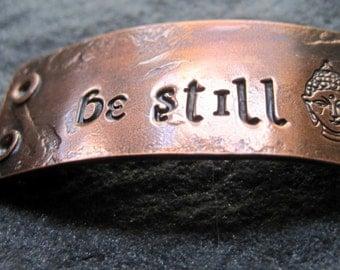 be still -  bracelet plaque in warm copper