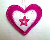 Bright Pink Felt Heart Ornament | Valentine's Day | Holidays | Wedding Bridal | Party Favor | Handmade | Decoration | Tree Ornament | #4