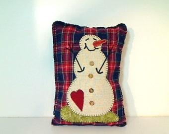 Primitive Wool Snowman Pillow | Appliqued Snowman | Holidays | Winter Decor | Handmade USA | Primitive Folk Art | Rustic Country Decor | #4