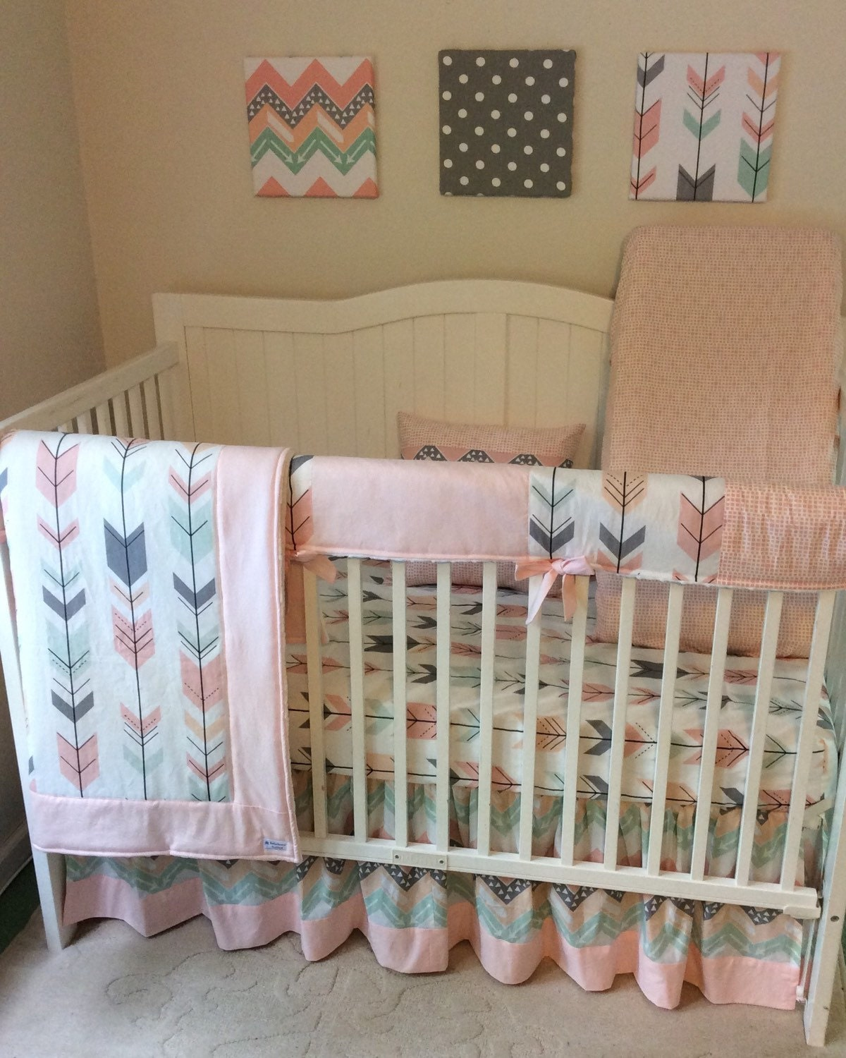 gray peach and mint arrows crib complete by butterbeansboutique. Black Bedroom Furniture Sets. Home Design Ideas
