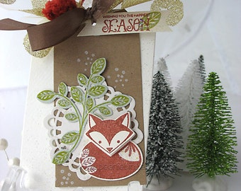 Little Fox Fall Winter XL Deluxe Art Gift Tag~kraft~green~winter white~rust red~gold~hang tags~gift bag swag~pretty packaging