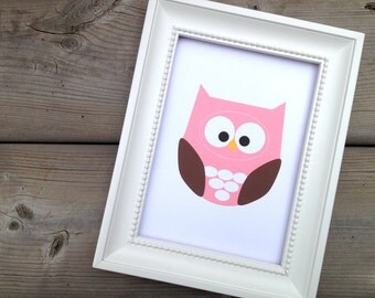 Owl Wall Art Animal, Cute Owl Print, Baby Nursery Decor, Kids Wall Art, Pink Bird Art, Forest Animal, Gift for New Parents
