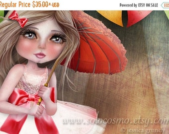 """SUMMER SALES EVENT Fine Art Print """"Asia and Snow at the Circus"""" 11x17 or 13x19  - Circus Performer Tight Rope Walker Girl and Maltese Puppy"""