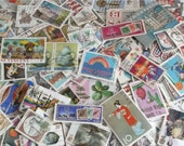 World postage stamps packet | 100 used postal stamps, random mixed modern + vintage for crafting, collage, upcycling, decoupage, collecting