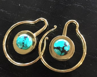 Deep Turquoise earweights Gorgeous mini brass weights