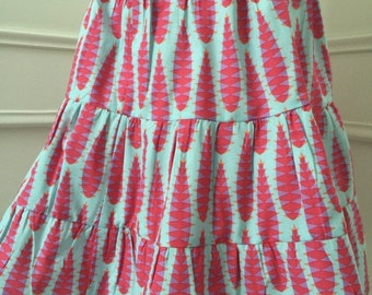 SALE Red and Aqua tiered twirly skirt - peasant skirt - handmade to order - spring summer fashion - custom size 2T 3T 4T 5 6 7 8