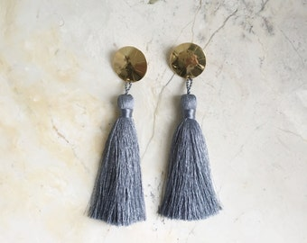 Tassel Earrings. Dusty Blue Tassel. Silk Tassels. Bold Earrings. Statement Earrings. Fringe Earrings. Long Dangles. Brass. Bohemian.