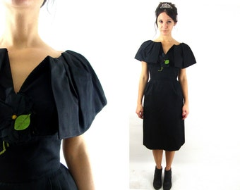 50s / 60s black party dress / capelet sleeve / formal rose / s/ m  / R&K Originals