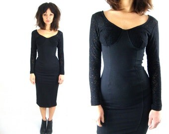 90s long black body con lace dress bustier small