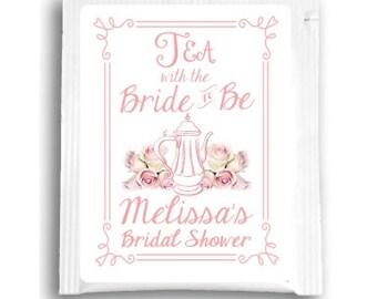 25 Floral Bridal Shower Tea Bag Favors, Custom Tea Bags, Customized Tea Favors for Wedding Shower Tea Favors, Tea with Bride to Be