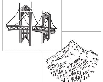 PORTLAND IRON-ON transfer pack, embroidery designs, Oregon embroidery patterns, national parks, modern embroidery pattern by StudioMME