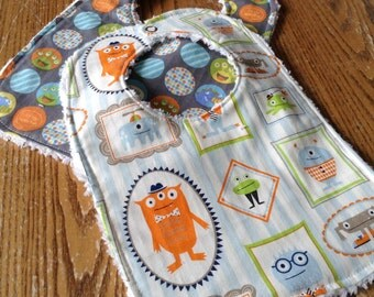 Monster Bib Set for Baby Chenille Back, Snap Closure, Boy, ready to ship