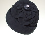 Signature Petal Blossom Hat, Black Micro Fleece with a Bit of Bling, Women Size M, Lined Ultra Soft